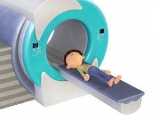 MRI Scan and little boy, 3d